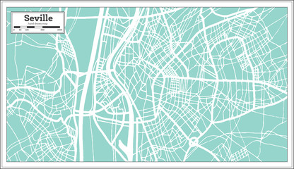 Seville Spain City Map in Retro Style. Outline Map.
