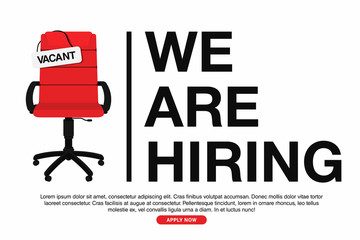 Business hiring and recruiting concept. We are hiring, banner concept, vacant position. Empty office chair with vacant sign isolated on white background