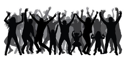 Crowd of people applauding, silhouette. Dancing people