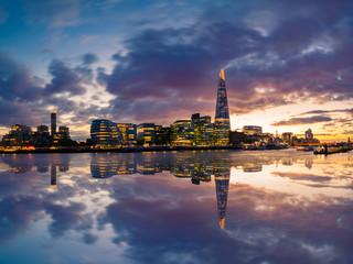 Skyline panorama of London at dreamy sunset