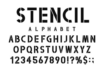 Military stencil font. Stencil alphabet with numbers in retro army style. Vintage and urban font for stencil-plate
