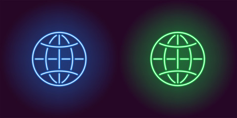 Neon icon of Blue and Green Globe