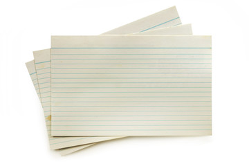 Old Index Cards Isolated on White with Soft Shadow