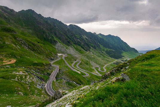 winding serpentine of the TransFagarasan road. beautiful transportation background. popular tourist destination in Romania