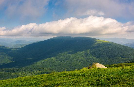 landscape with rocks on grassy alpine hillside of Carpathian mountain ridge. Gorgeous view of Polonina on fine summer weather