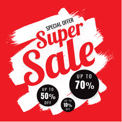 SUPER SALE SPECIAL OFFER 10 % 50 % 70 % on white background. vector illustration. Trading business. shopping. banner