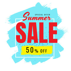 Summer Sale discount 50% on white background. vector. banner. Business