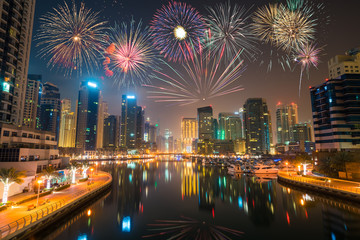 Firework display at Dubai marina at night, UAE