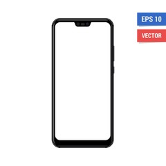 Realistic vector flat mock-up smartphone with blank white screen. Scale image any resolution