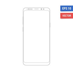 Outline drawing flat mock-up smartphone. Scale image any resolution