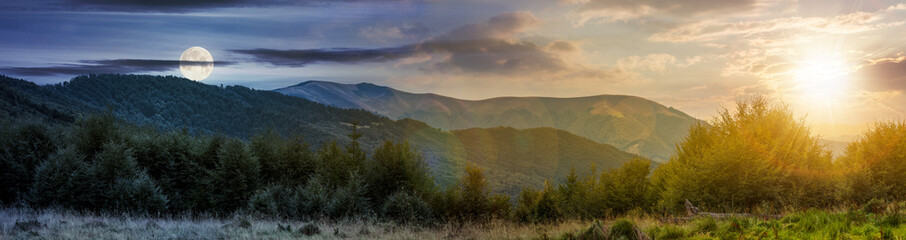 Campagne time change concept over the Carpathian mountains. panorama with sun and moon in the sky. beautiful landscape with forested hills and Apetska mountain in the distance.