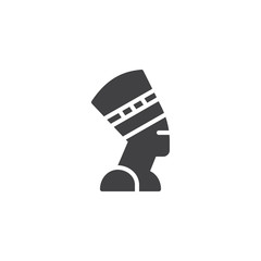 Nefertiti Profile vector icon. filled flat sign for mobile concept and web design. Egyptian queen simple solid icon. Symbol, logo illustration. Pixel perfect vector graphics