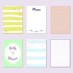Cards with various design for different purpose. Can be used for baby shower and birthday or wedding invitation.