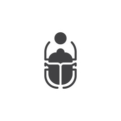 Scarab Beetle and sun vector icon. filled flat sign for mobile concept and web design. Egyptian Scarab simple solid icon. Symbol, logo illustration. Pixel perfect vector graphics