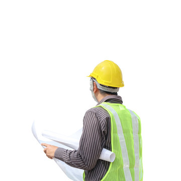 Asian business man construction engineer hold blueprint paper isolated on white background with clipping path
