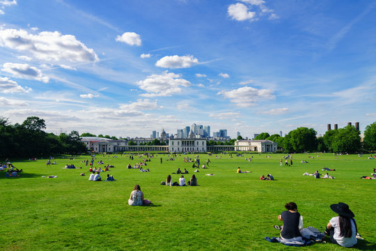 Greenwich park at sunny spring day