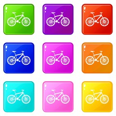 Bike icons of 9 color set isolated vector illustration