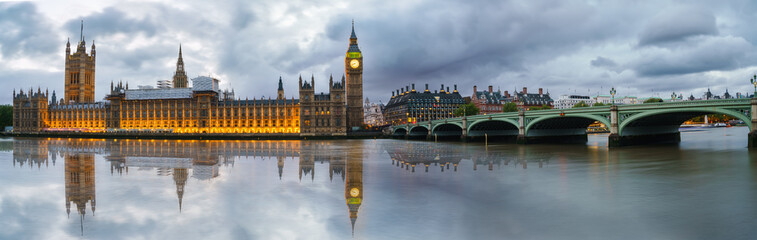 Garden Poster London Panoramic picture of Houses of Parliament, Big Ben and Westminster Bridge with reflection, London
