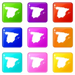 Map of Spain icons of 9 color set isolated vector illustration