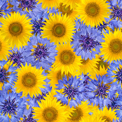 Seamless pattern with bright cornflowers and sunflowers. Blue and yellow spring flowers. Can be used as a wrapping paper.