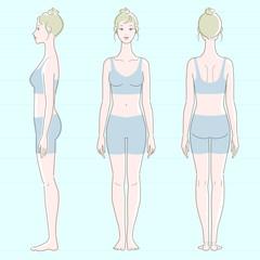 レオタードを着た白い肌の女性の全身図、正面、側面、背面