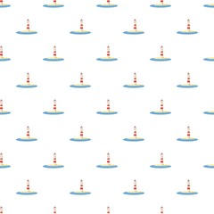 Lighthouse pattern seamless repeat in cartoon style vector illustration