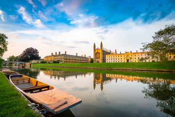 Beautiful view of Cambridge city on the River Cam
