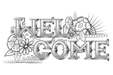 Creative typography text lettering for Welcome