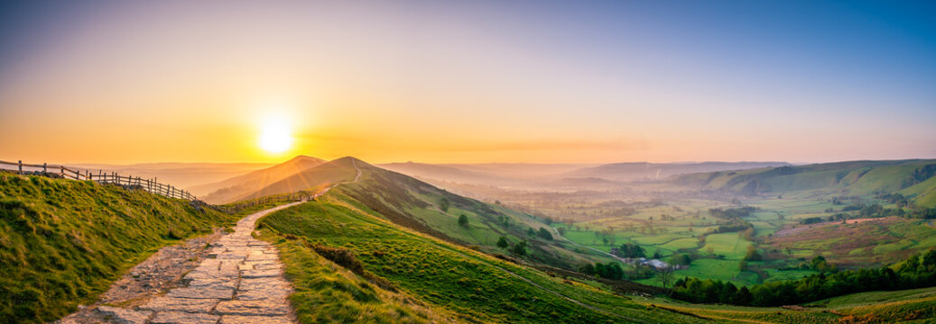 Mam Tor mountain in Peak District at sunrise
