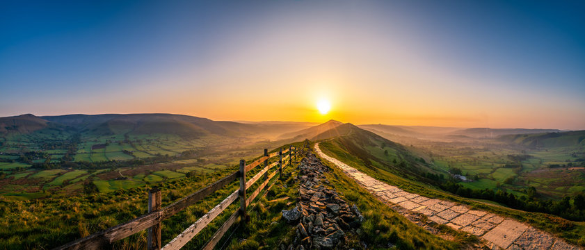 Mam Tor mountain in Peak District at sunrise