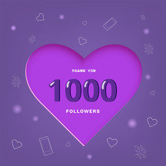 1K followers thank you post for social media. Vector illustration.
