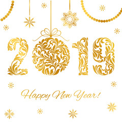 Happy New Year 2019. Decorative Font made of swirls and floral elements. Golden numbers and Christmas ball with sparks isolated on a white background.