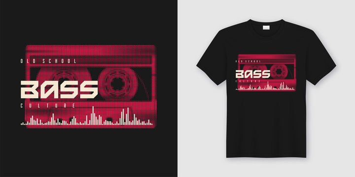 Old school bass t-shirt and apparel trendy design with styled mu