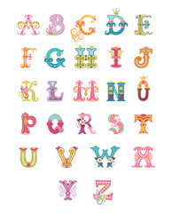 Alphabet letters and numbers in different style. Freehand drawing. Can be used for scrapbook, postcards, etc.