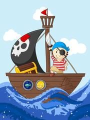 Kleiner Pirat mit seinem Schiff