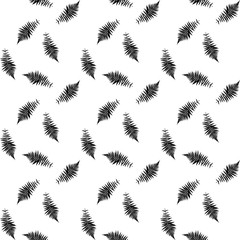 Black and White silhouette of leaf Libistones of Chinese, Southern palm. Seamless pattern. Vector Illustration.