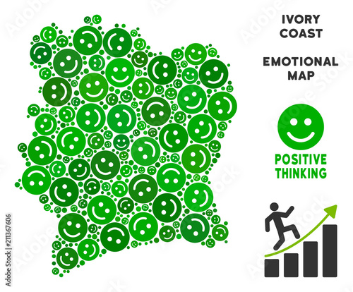 Joy Ivory Coast map collage of smile emojis in green hues. Positive ...