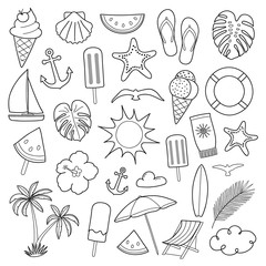 Collection of summer icons isolated on white background. Vector.