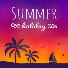 Paradise summer under palm trees. Shiny poster with text. Vector.