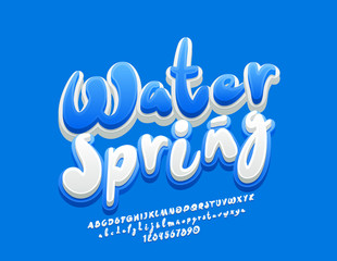 Vector bright Logo Water. Handwritten blue and white Font. 3D cute Alphabet Letters, Numbers and Symbols