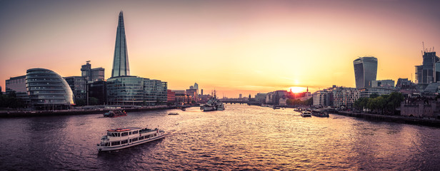 London Cityscape panorama at sunset, seen from Tower Bridge Wall mural
