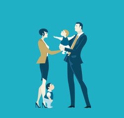 Successful businessman, father holding child and passing him to mother. Family and business concept