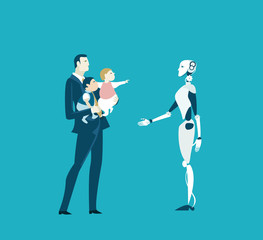 Successful businessman and father holding kids and introducing robot as child care