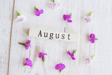 top view of wooden calendar with July sighn and pink flowers.