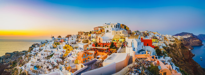 Self adhesive Wall Murals Santorini Oia at sunset in Santorini | Greece