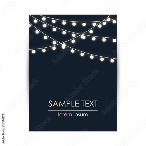 Elegant Design Template With Lights Garland And Space For