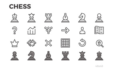 Chess icons for mobile application. Chessmen, strategy. Editable line.