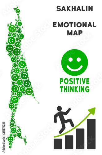 Happiness Sakhalin Island map mosaic of smile emojis in ...