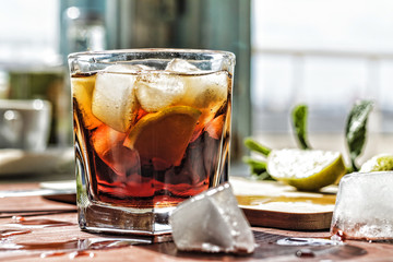 rum, alcohol, glass, cocktail, drink, background, closeup, ice, lime, beverage,