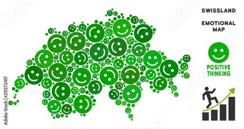 Joy Swissland Map Collage Of Smileys In Green Hues Positive